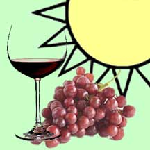 Wineglass, grapes, sun
